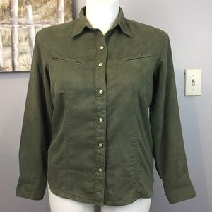 NWT Columbia Olive Faux Suede Button Down L